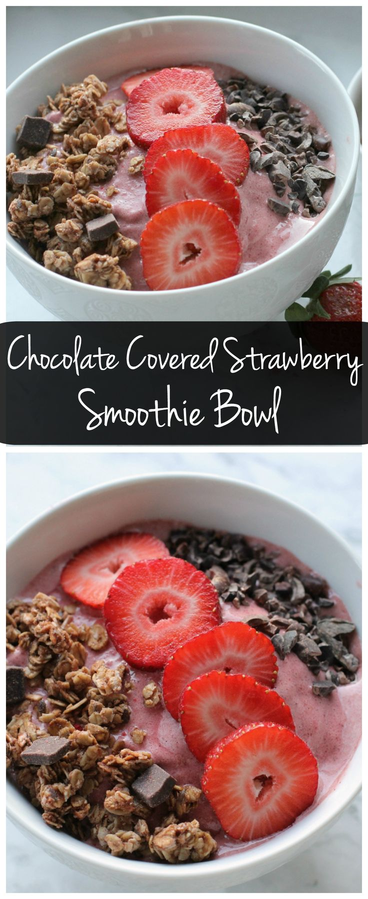 Start the day off with this This Chocolate Strawberry Love Crunch Smoothie Bowl! It only takes a few minutes to make and it's filled with good for you ingredients! #ad (Vegan Protein Bowl)