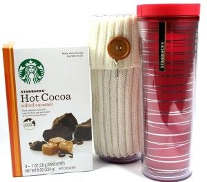 Easter Basket Girlfriend Starbucks Travel Mug Tumbler and Salted Caramel Cocoa with White Button Cuff Sweater Sleeve and Believe Charm