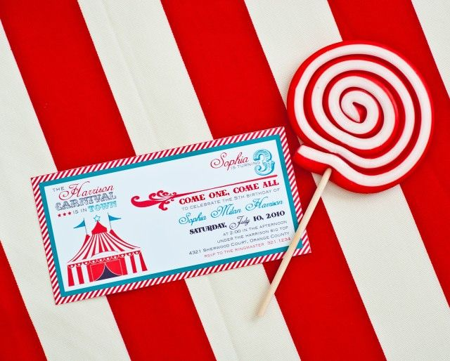135 best images about Circuscarnival party – Circus Party Invitation