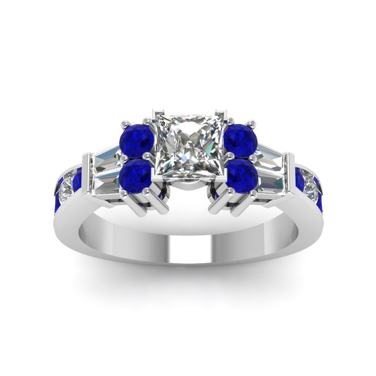 2 ct. Princess Cut Channel Bar Set Diamond Expensive Engagement Rings with Blue Sapphire in 950 Platinum exclusively styled by Fascinating Diamonds