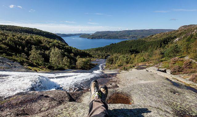 Autumn in Lyngdal Southern Norway. Hiking to Skreilia.