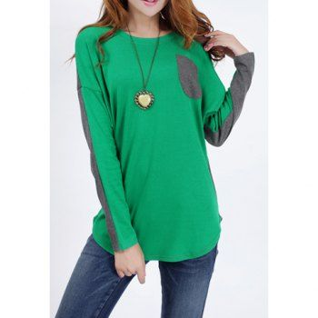 Casual Style Round Collar Cotton Splicing Design Batwing Long Sleeves Loose-Fitting Women's T-Shirt, GREEN, M in Tees & T-Shirts | DressLily.com