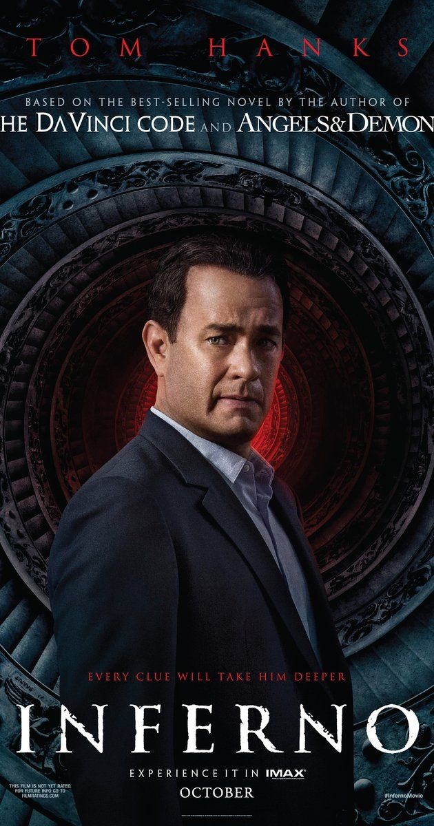 Directed by Ron Howard.  With Tom Hanks, Ben Foster, Felicity Jones, Irrfan Khan. When Robert Langdon wakes up in an Italian hospital with amnesia, he teams up with Dr. Sienna Brooks, and together they must race across Europe against the clock to foil a deadly global plot.