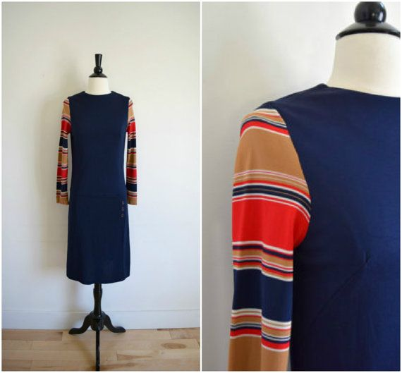 Vintage retro navy dropwaist dress with striped sleeves / sixties long sleeved dress / blue, red, tan and white striped sleeves