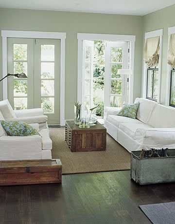 I like the floorboards, the rug and the sofas.