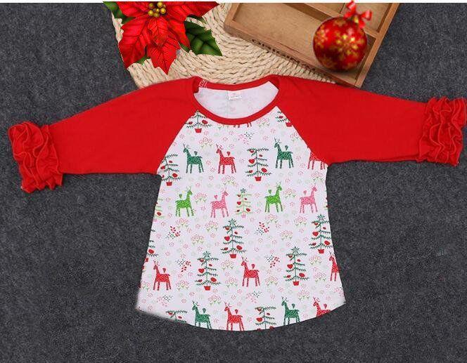 Girls Red with Reindeer Christmas Ruffle Sleeve Raglan T-Shirt