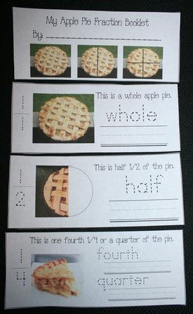 FREE apple pie trace & write booklet to help reinforce fractions. CCSS: 1.G.3