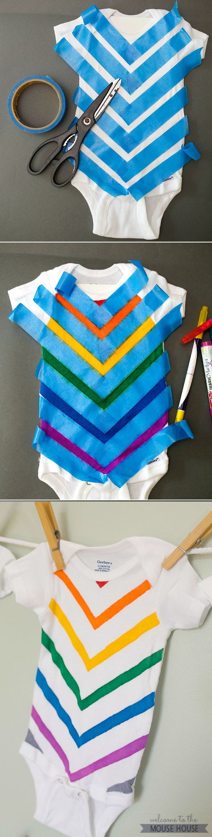 This is the cutest onesie idea.  Create it so easily using Fabric Markers and painter's tape!