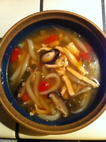 Made this PF Changs Chicken Noodle Soup - It was a hit with the girls! I used white sugar instead of brown sugar and ginger paste instead of fresh..I also added a bit of vinegar.