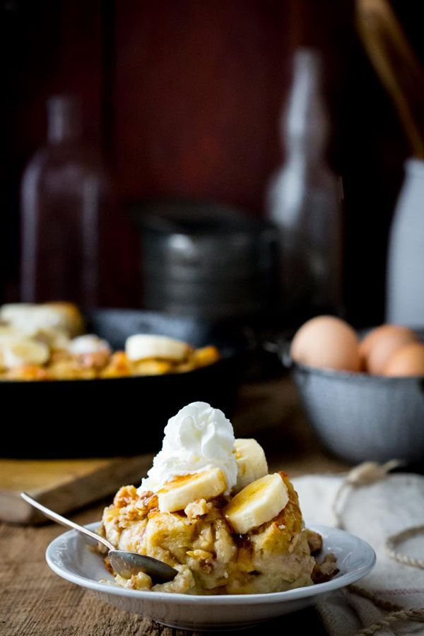 Greek Yogurt Banana Maple Bread Pudding