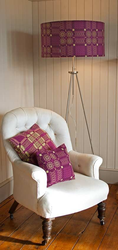 Melin Tregwynt - Woven in Wales woollen blankets throws cushions in purple and lime