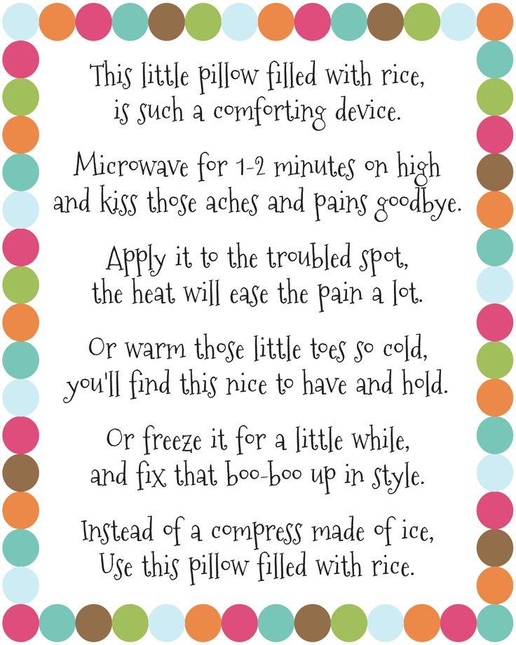Poem for Rice Bag Warmer | DIY Rice Bag Warmers Poem Printable at artsyfartsymama.com #printable ...