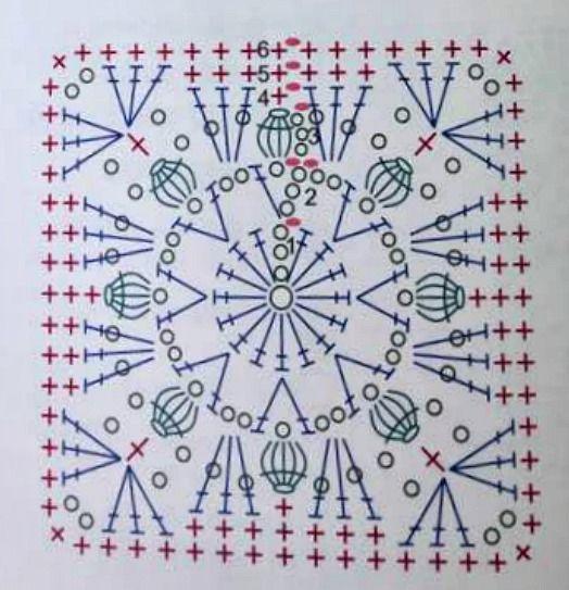 Apunta el esquema para elaborar este modelo de granny square de tulipanes.