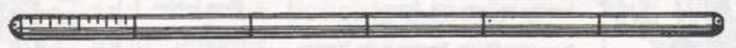 Staff: Ash or bamboo, two metres, (6 ft. 6-1/2 in.), in length and about one and one-half inches in diameter; marked off on one side in centimetres up to one-half metre, and the balance in metres. On the other side it should be marked off in inches up to one foot and the balance in feet. The staff should have a blunt end. Scouts should make their own staffs whenever it is possible for them to secure the lumber. Hoe or rake handles make excellent staffs.