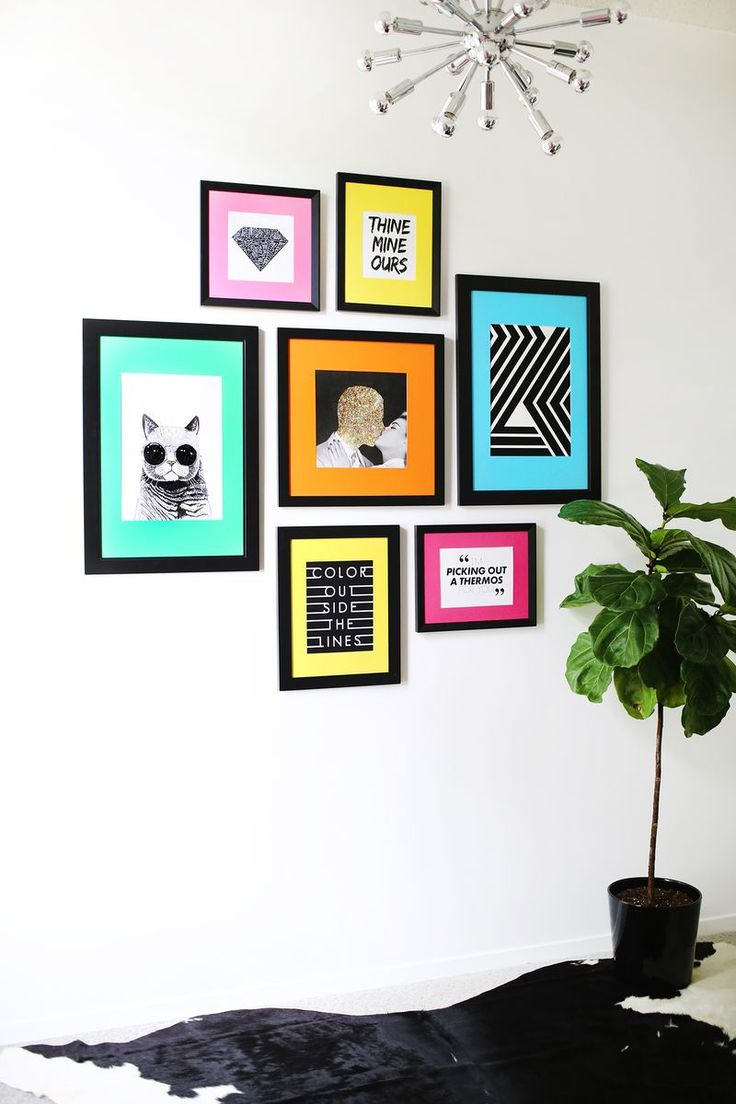 Colored Mat Gallery Wall Idea-- could be so cute in Scotlynn's room @strouds  -- maybe with white frames instead of black. Easy and cute ----