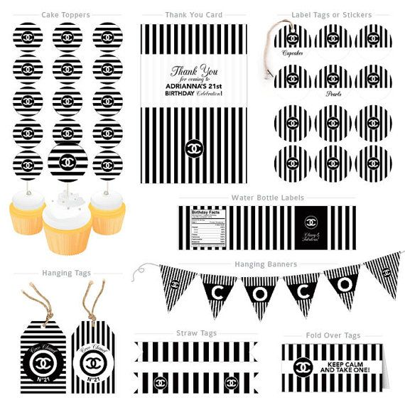 Chanel Birthday Party Collection  Digital Files by MimiDezign, $40.00