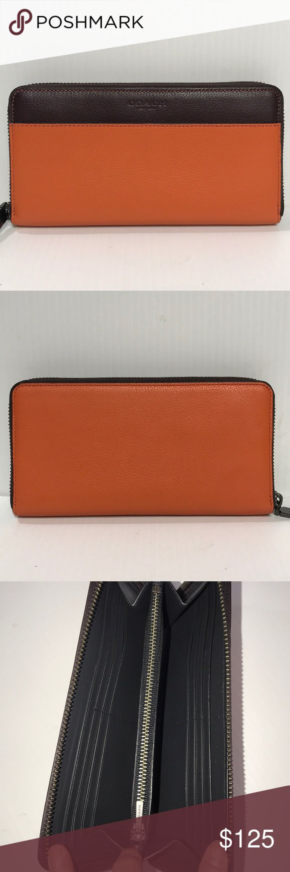 """NEW Coach Accordion wallet in Colorblock Leather Coach zip around wallet Smooth calf leather 12 credit card slots Full-length bill compartments  Zip coin pocket Zip around closure Outside open pocket Fits all phone sizes up to an iPhone 7 & Samsung S7 Edge Size measurements: 7.5""""L x 4""""H Coach Bags Wallets"""
