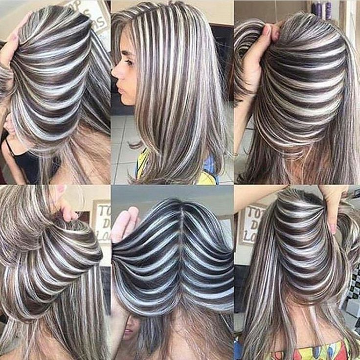 Ash grey and silver white stripes hair color inspo. Such a unique hairstyle!
