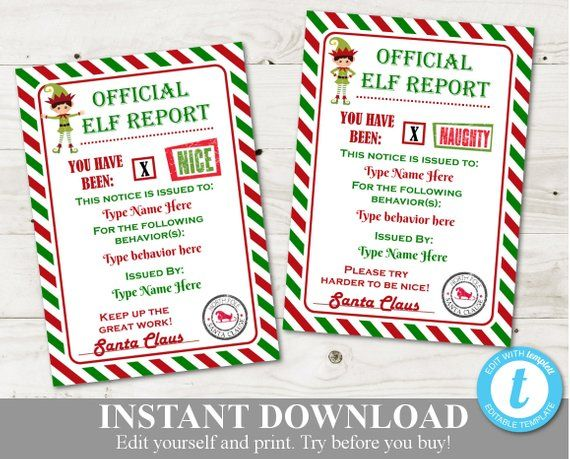 Instant Download Editable Printable Elf 5x7 Naughty And Nice Etsy Elf Report Card Santa Letter Template Nice Certificate