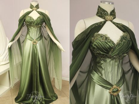 Follow Firefly Path costuming & make-up on Facebook -www.facebook.com/FireflyPath This Elven Bridal Gown is for the bride who desires an enchanting, elegant Woodland look for their weddin...