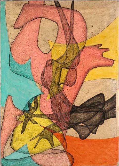 Maria Jarema, Wyrazy V, 1957, monotypia  #graphic #jarema