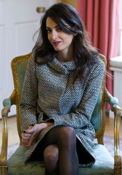 British lawyer Amal Clooney is pictured during a meeting between British Prime Minister David Cameron and Former Maldives president Mohamed Nasheed (neither pictured) inside 10 Downing Street in London on January 23, 2016. Former Maldives president Mohamed Nasheed left the Maldives on Monday for Sri Lanka after resolving a last-minute legal dispute with the government over his 30-day release for the spinal cord surgery in the UK.
