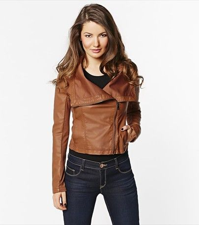 Top off your look with this fabulous amber faux leather jacket!