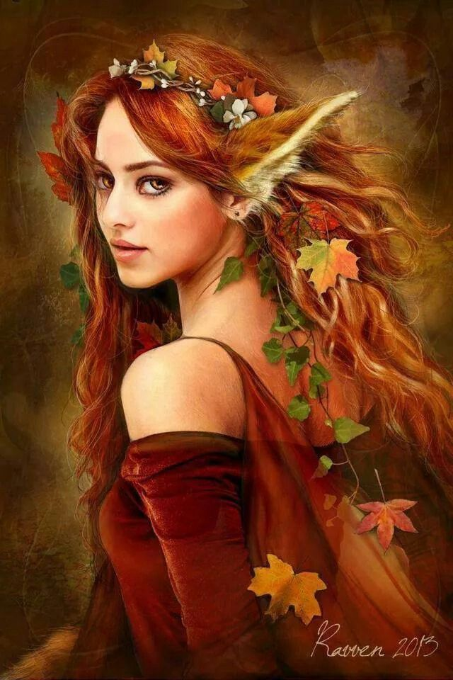 Mystical Creatures In The Fall Wallpaper Redheaded Elven Beauty Fantasy Art Elves Elf Kat S