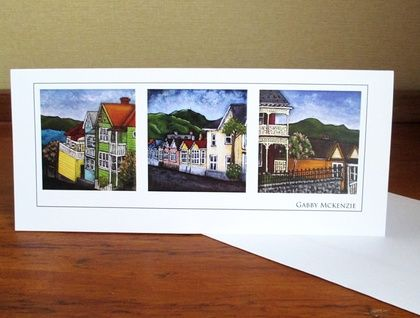 Villas & Bungalows of New Zealand:These cards are prints of my original acrylic paintings of vintage houses in the central area of Dunedin city, New Zealand. I think that part of what makes smalltown New Zealand so appealing is the rustic charm of the old villas and bungalows. I've painted them the bright colours I would want them to be if I owned them.