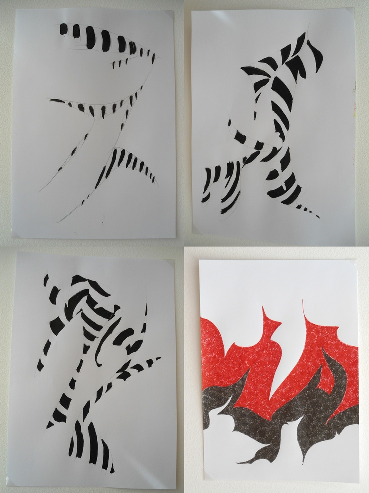 1,2,3: nanquim e papel; 4: caneta e papel