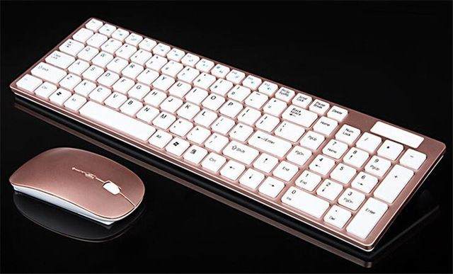 Ltra Szczupła Cienka Konstrukcja 2.4 GHz Wireless Keyboard Z Pokrywą Z Zestaw Mysz Myszy na Pulpicie Komputera przenośnego Klawiatury Komputera zestaw