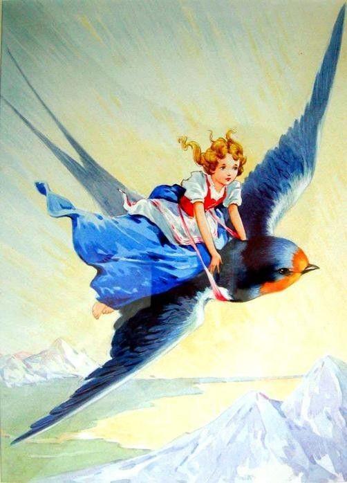 Vintage girl flying on bluebird