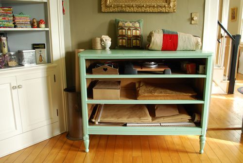 old dresser turned into an Etsy shop shipping station