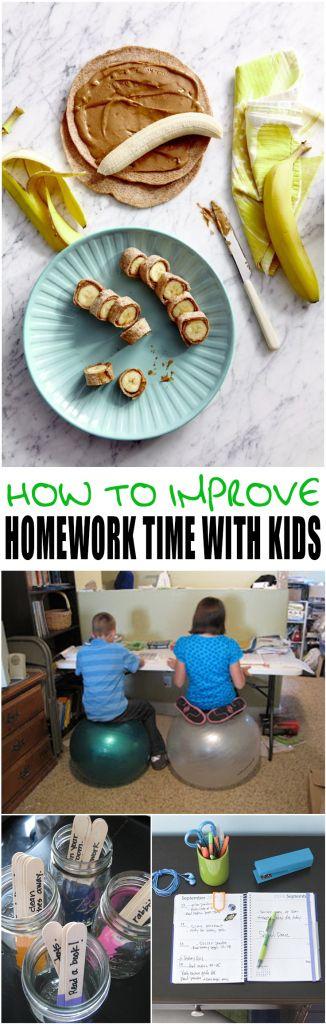 How to Improve Homework Time with Kids.  Good tips to make this more enjoyable and keep kids on task.
