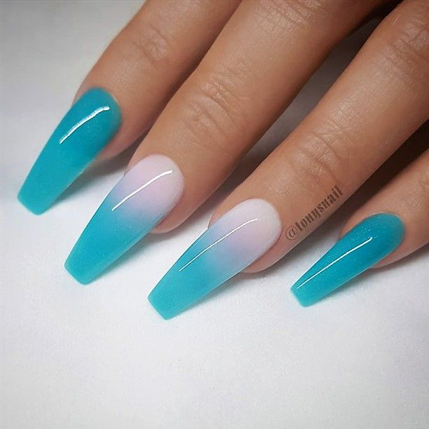 ✨ REPOST – – • – – Bright Turquoise and Ombre Effect on long Coffin Nails …
