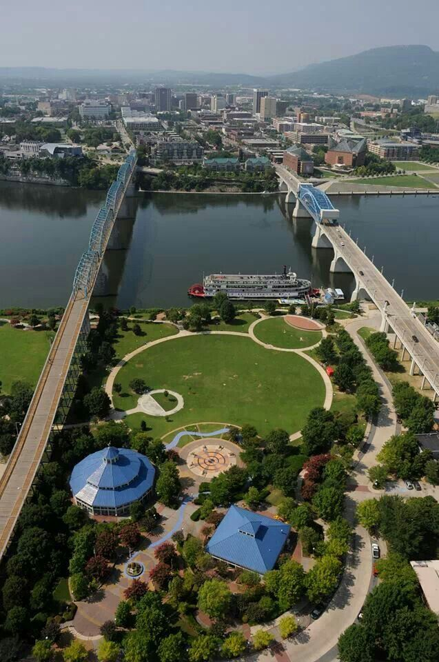 Chattanooga Aerial View Of Coolidge Park Chattanooga