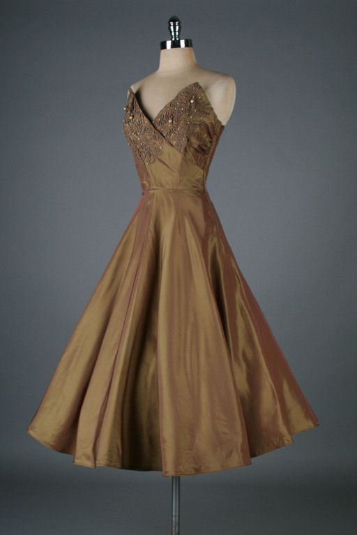 ~Vintage 1950s Bronze Emma Domb Beaded Dress with Bolero~