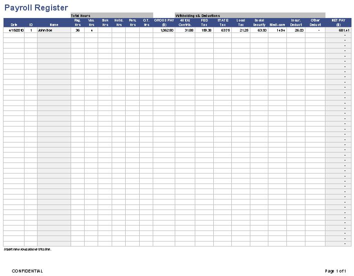 Download the Employee Payroll Register from Vertex42 Recipes - excel templates for payroll