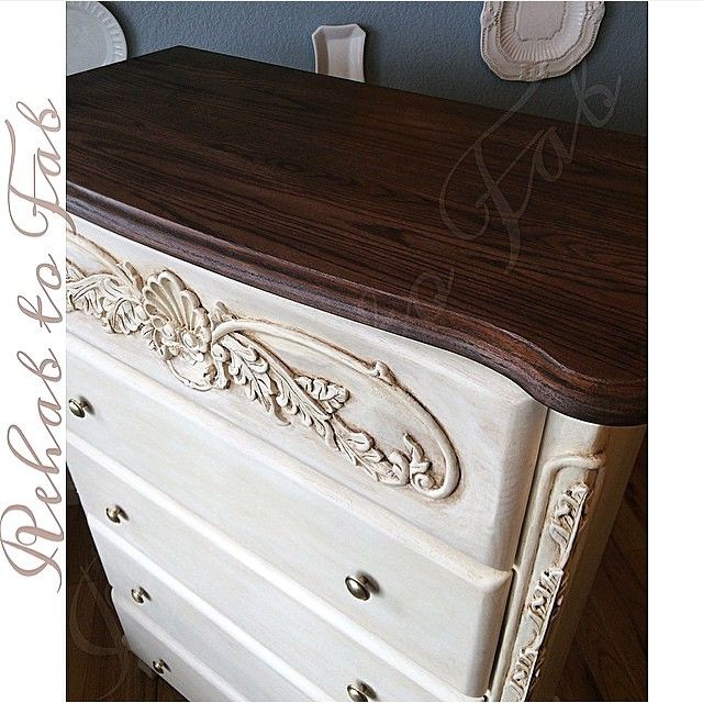 What a beauty! The very talented Stephanie at Rehab to Fab shared this oak chest of drawers refinished with Java Gel Stain & Arm-R-Seal on top, and Heirloom Traditions paint accented with Van Dyke Brown Glaze & Polyvine Dead Flat wax on the base!