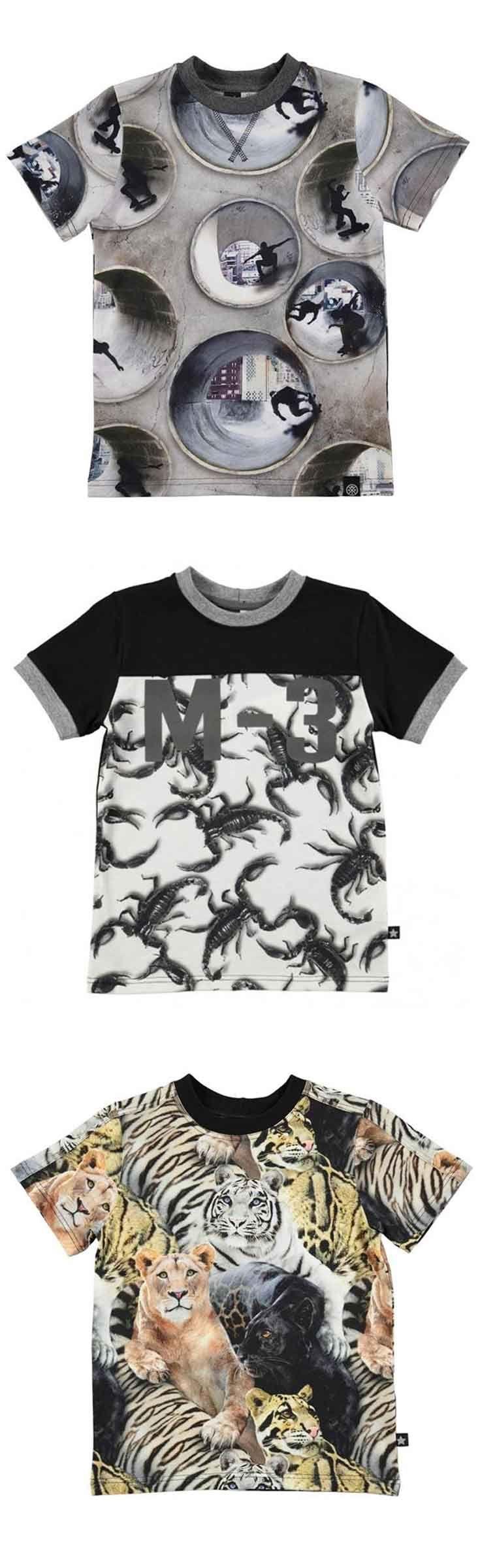 Stoere t-shirts met uitgesproken prints zoals skateboarders, schorpioenen, wilde dieren, voetbal, enzovoort. Molo jongenskleding heeft volop eyecatching prints en items in de collectie van zomer 2017. Shop deze eigenzinnige collectie @ http://www.nummerzestien.eu/merken/molo/