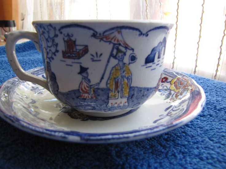 Antique Sweden Gustavsberg KINA tea pair cup saucer China Gustafsberg 1925 years #Gustavsberg