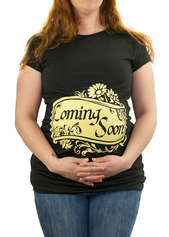 Coming Soon Maternity T-Shirt Clothes Top - Soft yellow banner and flowers - Classic rock punk - Made From Bamboo - SUPER SOFT  Stretchy
