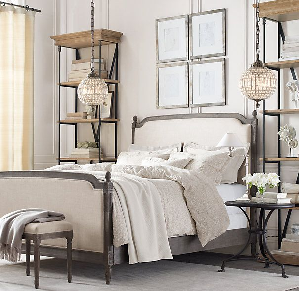 Tall shelves as nightstand alternative with Nailhead Gallery Frames!