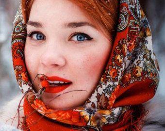 Russian Pavlovo Posad Elite Shawl Marsala red Wool oversized