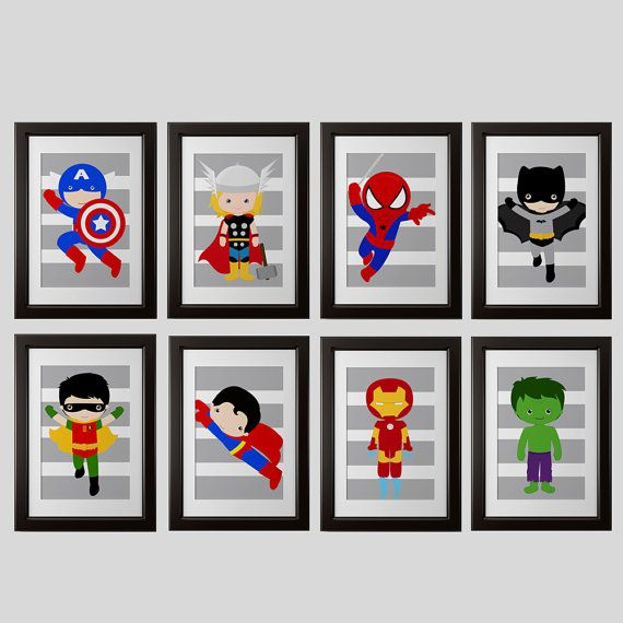 The perfect super hero printable for your little ones room or playroom! THIS IS FOR 8 (8x10) PRINTS  Listing includes 8x10 inch PRINTS on lustre matte finish photo paper including:  This listing is for the STRIPED gray background ONLY.  if you want a different background, please purchase the correct listing in my childrens wall art section.  *thor *hulk *spiderman *batman *robin *ironman *superman *capt. america *flash *green lantern *wolverine *spider girl *batgirl *super girl *wonder girl…