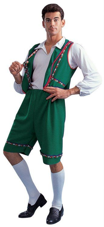 Adult Green Bavarian Lederhosen Costume  Celebrate Oktoberfest (or just your general love of beer) in this men's German lederhosen costume! Includes dark green knee-length shorts with embroidered trim, matching green vest, and white shirt.