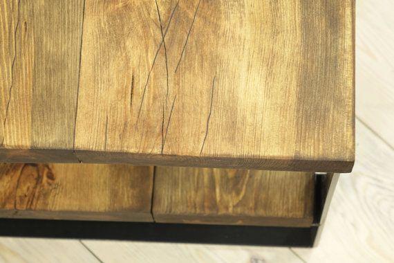 Reclaimed Hout Side Table 2 niveau koffietafel door FreeTreeStudio