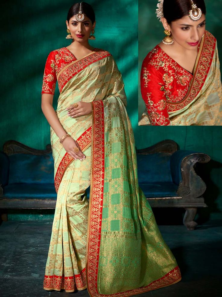 Pretty pastel green shaded saree invented on pure viscose with shimmering work red patch border is looking awesome. Look more beautiful and stylish than any body else.