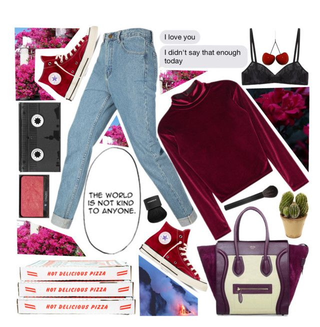"""""""Untitled #423"""" by inkcoherent ❤ liked on Polyvore featuring CÉLINE, Converse, Araks, Cannella, Luckies, NARS Cosmetics, Nearly Natural, Givenchy, Giorgio Armani and Nika"""