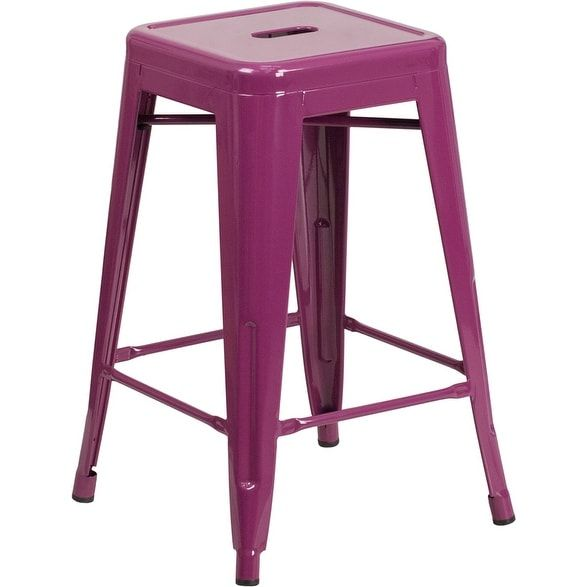iHome Brimmes 24'' High Backless Purple Indoor/Outdoor/Patio/Bar Counter Height Stool (Metal)